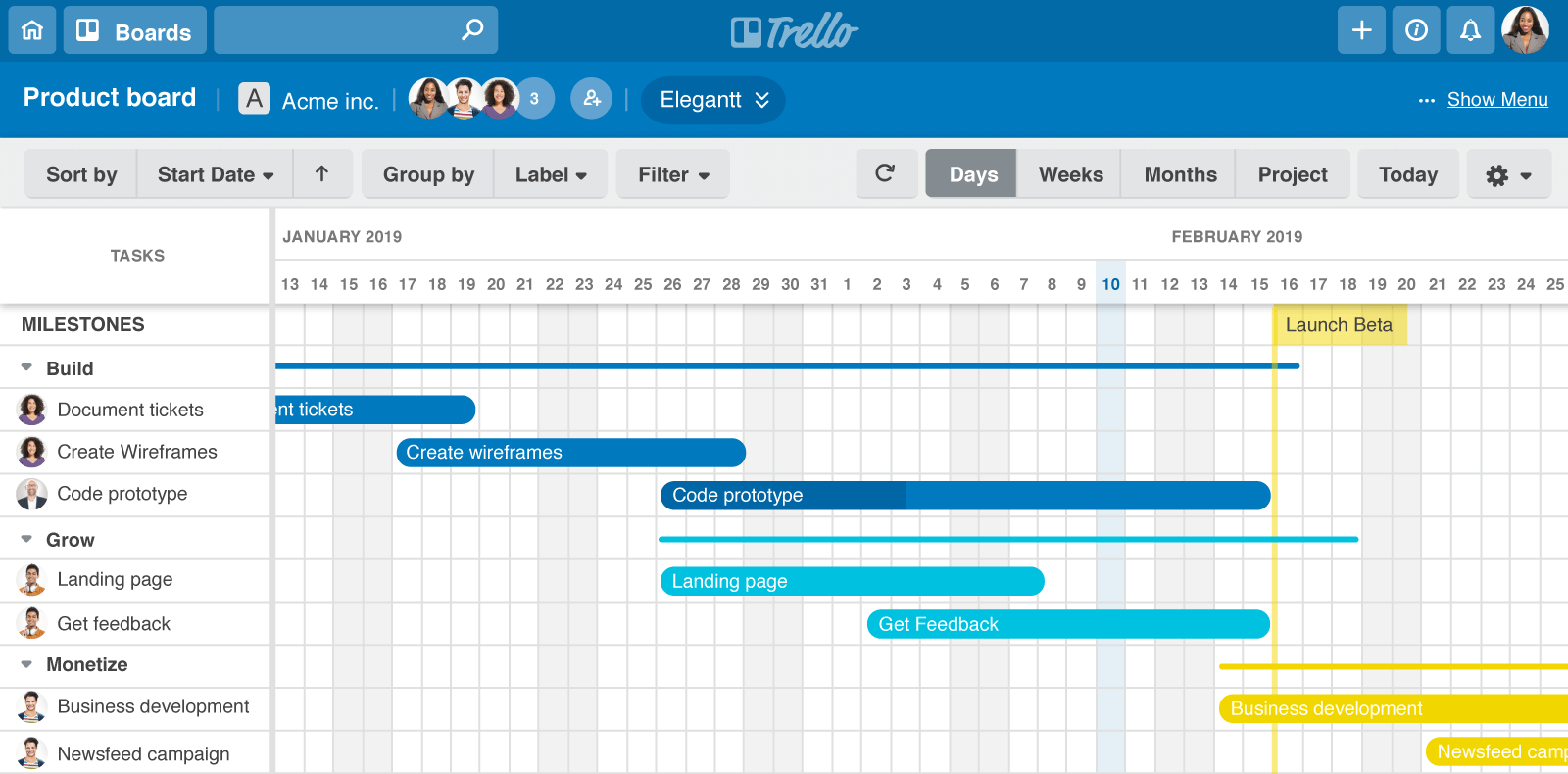 How To Create A Trello Roadmap In 3 Steps Electrical Symbols Together With Gantt Chart On Schematic Charts Will Allow You Easily Spread The Information Everyone Project Has Same Indications At Time